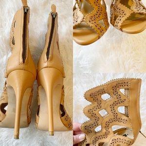 Zara Shoes - Zara Leather Laser Cut Caged Heels Nude/Tan Sz 40